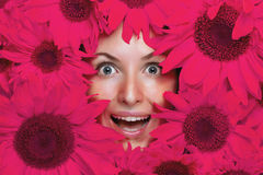 Wow effect!. Young woman with flowers Royalty Free Stock Photography