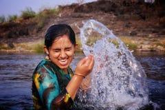 Wow enjoy the summer in river. Water, girl, beautiful, fun, smile, riverside, rasalpur, flash, women, girlfriend stock image