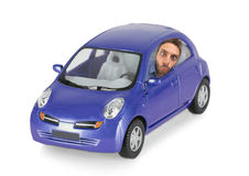 Wow expression of a boy in the violet car Stock Photography
