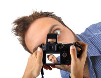 Wow expression in camera Stock Photos