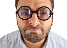 Wow expression with eye glasses Stock Image