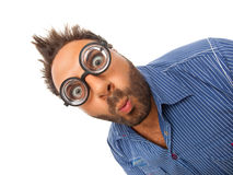 Wow expression with eye glasses. Young boy with a surprised expression with eye glasses Stock Photos