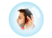 Wow expression with hearing Stock Photography