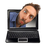 Wow expression with laptop Royalty Free Stock Photos
