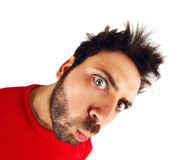 Wow expression with red t-shirt Stock Photography
