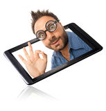 Wow expression with tablet Royalty Free Stock Photography