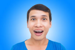 Wow Expressions Concept. Wow Face Expression Of Asian Man Royalty Free Stock Photography