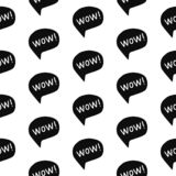 Wow exressive word seamless pattern black on white font royalty free illustration