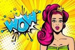 Pink hair princess girl pop art wow face. Wow face caucasian young princess girl in crown. Woman pop art pink hair. Comic text advertise speech bubble. Retro royalty free illustration