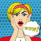 WOW face in Pop Art style, Surprised scared Woman with wow-sign Royalty Free Stock Photos