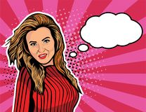 Wow female face. Sexy girl with long hair, open mouth and speech bubble. Pop art retro comic style illustration. Wow female face. Sexy girl with long hair, open Stock Images