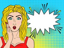Wow female face. Sexy young blonde womanwith open mouth and long. Hair, bright makeup and empty speech bubble. Vector colorful background in pop art retro comic Royalty Free Stock Image