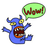 Wow! Funny cute monster screaming. Speech bubble. Vector illustration. Royalty Free Stock Photo