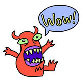 Wow! Funny cute monster screaming. Speech bubble. Vector illustration. Royalty Free Stock Photography