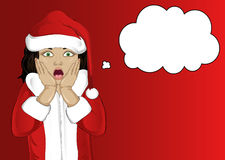 Wow. Girl in Santa Claus costume very surprised. Child Royalty Free Stock Photo