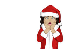 Wow. Girl in Santa Claus costume very surprised. Child Stock Image
