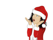 Wow. Girl in Santa Claus costume very surprised. Child. Vector Royalty Free Stock Photos