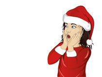 Wow. Girl in Santa Claus costume very surprised. Child. Vector Royalty Free Stock Photography