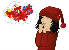 Wow. Girl in Santa Claus costume very surprised. Vector. Child Royalty Free Stock Image