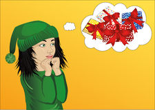 Wow. Girl in Santa Claus costume very surprised. Vector. Child Royalty Free Stock Images