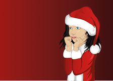 Wow. Girl in Santa Claus costume very surprised. Vector.Portrait Royalty Free Stock Images