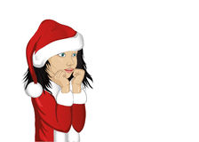 Wow. Girl in Santa Claus costume very surprised. Vector.Portrait Stock Images
