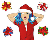 Wow. Girl in Santa Claus hat very surprised. Vector Royalty Free Stock Photography