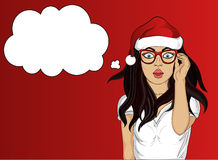 Wow. Girl in Santa Claus hat very surprised. Vector Stock Photography