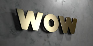 Wow - Gold sign mounted on glossy marble wall  - 3D rendered royalty free stock illustration Royalty Free Stock Photos