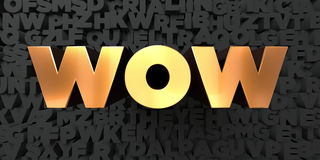 Wow - Gold text on black background - 3D rendered royalty free stock picture Stock Image