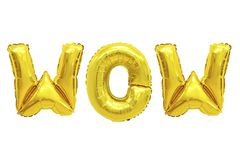 Wow golden color. Word wow in english alphabet from yellow Golden balloons on a white background. holidays and education stock photography