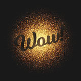 Wow Golden Glowing Particles Vector Background Royalty Free Stock Image