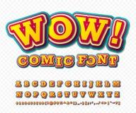 wow Grappige Doopvont Het alfabet in stijl van strippagina, knalt Royalty-vrije Stock Afbeeldingen
