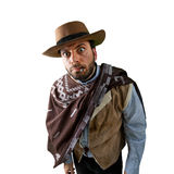 WOW Gunfighter in the old wild west. On white background Royalty Free Stock Images