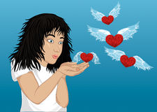 Wow! Happy girl blowing hearts with wings from her hands. Vector Stock Photo