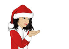 Wow! Happy girl in costume Santa Claus holding something. In his hands. Empty space for advertising. Vector. Portrait of a baby on a white background. Pop art Stock Photography