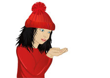 Wow! Happy girl in hat holding something in his hands. Wow! Happy girl in hat  holding something in his hands. Empty space for advertising. Vector. Portrait of Stock Photography