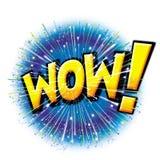 WOW! het grafische pictogram van de starburstexplosie Royalty-vrije Stock Afbeeldingen