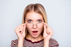 Wow! I don`t believe you! Close up portrait of shocked astonishe royalty free stock photo