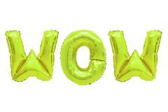 Wow lime color. Word wow in english alphabet from lime balloons on a white background. holidays and education royalty free stock photography