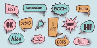 Comic text speeech bubble pop art Stock Photos
