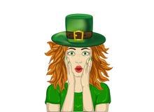 wow Meisje in St Patrick ` s zeer verrast van de hoedenhoed Dag, vector illustratie