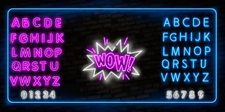 WOW neon sign vector. WOW pop art Design template neon sign, light banner, neon signboard, nightly bright advertising, light. WOWneon sign vector. WOW pop art royalty free stock photo