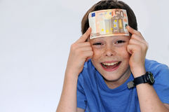 Wow, now I`m a rich boy Stock Photo