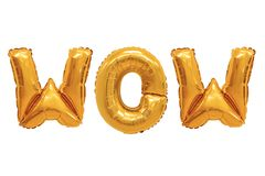 Wow orange color. Word wow in english alphabet from orange balloons on a white background. holidays and education royalty free stock photography