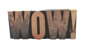 ?wow? in oud houten type Royalty-vrije Stock Afbeelding