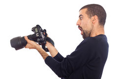 Wow, photographer looking his photos Stock Image