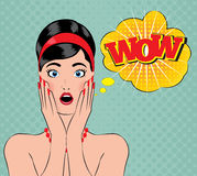Wow pin-up style Royalty Free Stock Photo