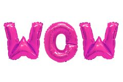 Wow pink color. Word wow in english alphabet from pink balloons on a white background. holidays and education stock images