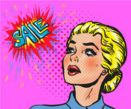Wow pop art comic female face blond with sale speech bubble. Wow pop art female face. Sexy surprised young woman in glasses with open mouth and black hair and Stock Photo